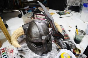 WIP SKYRIM IRON HELMET and DAEDRIC SWORD-ish by cessie23