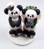 Marine Themed Pandas Wedding Topper by HeartshapedCreations