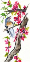Chinese watercolor bird by judamondale
