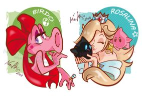 Birdo and Rosalina by Iluvendure