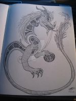 Celtic Chinese Wyrm - Pencil by flamingchibi