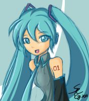 Hatsune Miku Ustream quick illustration. by AngriestAngryArtist