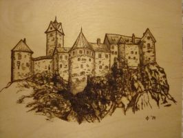 Castle in the Mountains Pyrography by dppratt