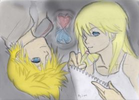 Roxas and Namine colored by EzioParkour