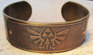 Zelda Triforce Brass Bracelet by FusedElegance