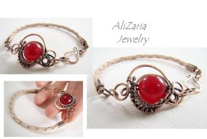 Red Planet Bracelet - Leather and Red Jade Stone by AliZariaJewelry