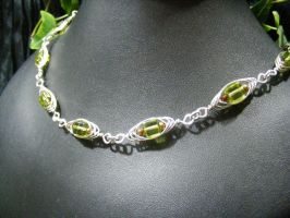 Silver Herringbone with green cubes by BacktoEarthCreations