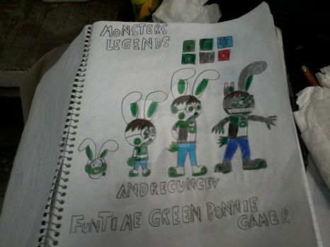 funtime green bonniegamer monsters legends by s1carlosreyes