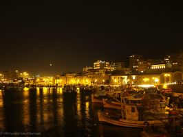Night with moon in the port by Mprintochainis