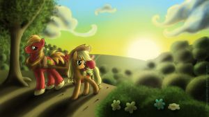 Sunset over Sweet Apple Acres by GlancoJusticar