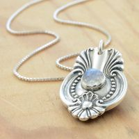 Spoon Pendant with Rose Cut Moonstone by metalsmitten