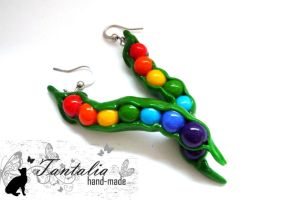 Earrings 'Rainbow peas' by Tantalia