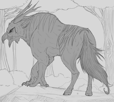 Wingless Hippogryph WIP by WoofMewMew