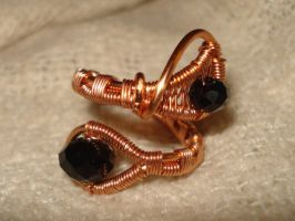 Black Copper Beaded Adjustable Ring by Toowired