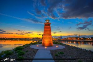 Red-Mini-Lighthouse-at-Lakefront-Park-in-Kissimmee by CaptainKimo