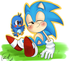 Classic sonic and flicky by zeldaprincessgirl100