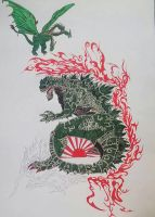 Work in progress Godzilla enter King Gidra by Pabloramosart