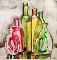 Colored Glass Bottles by mybuttercupart