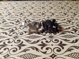 pixel silver ring black withe by Debals