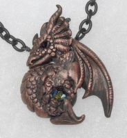 My first clay dragon pendant by Digimom