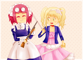 mey-rin and elizabeth comparing weapons by AlsTheMighty