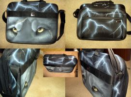 Lightning Eyes - laptop bag by cloudstar-wolf