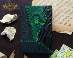 Green leather patchwork necronomicon by MilleCuirs