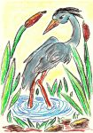 Oil Pastels: Heron by kxeron