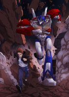 Commission : Optimus Prime and Ellen running by papillonstudio