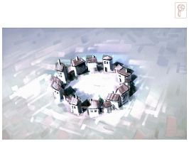 Circle Village Winter by Papierpilot