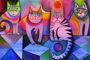 kaleidoscope of cats by karincharlotte