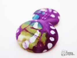 Butterfly Wings XL Fabric Covered Stud Earrings by TheFuzzyPineapple