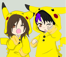 nap time in pikachu outfits by bellarosemoon