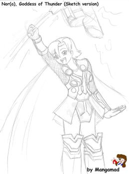 Nora Nor Goddess of Thunder Sketch by Mangamad