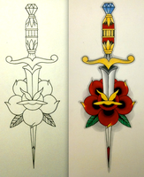 Neo-Traditional Dagger and Rose by BadFishBenny