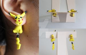 Pikachu Pokemon Polymer Clay Earrings by ArtzieRush