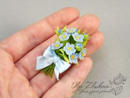 brooch with forget-me- by polyflowers