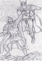 Thor vs Doctor Doom by yerbouti