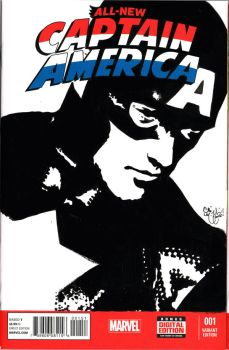 Captain America Sketch Cover Acrylic by ChrisMcJunkin