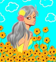 Girl in the Yellow Flowers by DaMuffinBiter