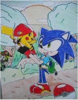 sonic and pikachu by 4sonicfan