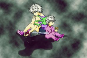 HXH : Killua and Little Killua by xcredensjustitiamx