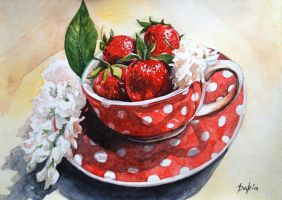 strawberry tea by DariaGALLERY