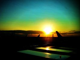 sunrise at ncl airport II by mihi2008