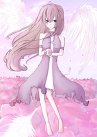 angel in a sea of flowers by LupaChan