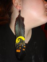 NMBC Swirl Hill Hand Painted Feather Earring by MistressLee