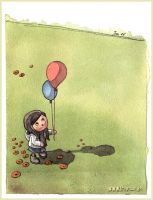 girl with two balloons by Iraville