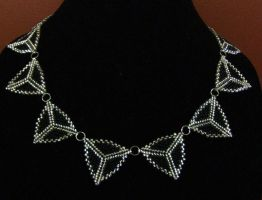 Silver and black peyote triangle necklace by ladytech