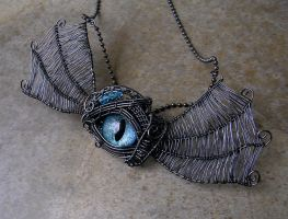 Wire Wrap Of Dragon's Wing - Teal Smoke Eye Brooch by LadyPirotessa