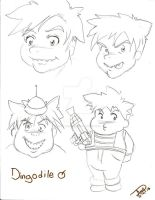 Dingodile (human anime version) faces by Avril-TRON-LuKon